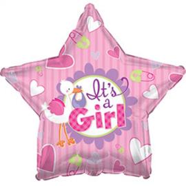 Ballon Géant Alu Etoile It's a Girl avec Cigogne Rose Naissance