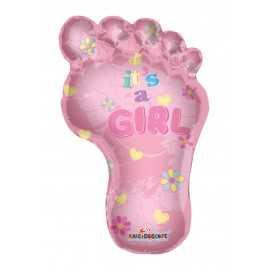 Ballon Géant en Forme de Pied de Bébé Rose Fille pour baby shower party