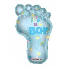 Ballon Géant en Forme de Pied de Bébé Bleu Garçon It's a boy