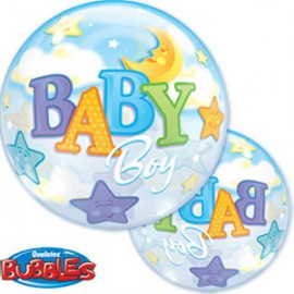 Ballon Bubble Baby Boy Etoiles