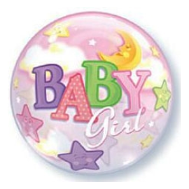 Ballon Bubble Baby Girl Etoiles