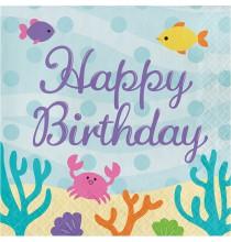 Serviettes en papier Petite Sirène Happy Birthday
