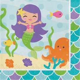 Serviettes en papier Petite Sirène Anniversaire à thème
