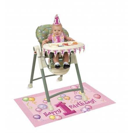 Kit Décoration Chaise Haute Bébé Premier Anniversaire Fille