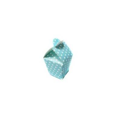 Boîte à Dragées Carton Pois Bleu Clair et Blanc Cadeau invité