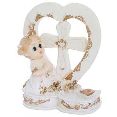 Figurine premier communion fille coeur pour d coration de table sujet - Decoration de table communion fille ...