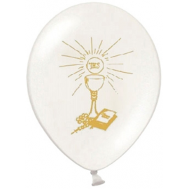 Ballons latex blanc / doré Décoration de Première Communion