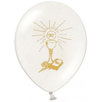 Ballons latex blanc / argent Décoration de Première Communion