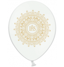6 Ballons Premium latex blanc / argent Décoration de Première Communion