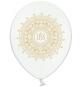 6 Ballons Premium latex blanc / doré Décoration de Première Communion