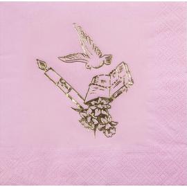 Serviettes Roses et Dorées Colombe