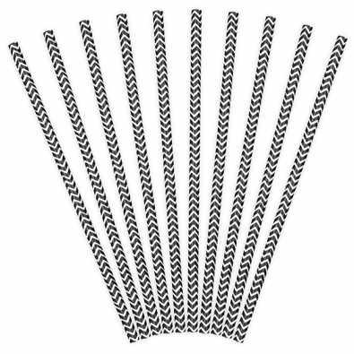 10 Pailles Rétro Chevron Zig Zag Noir Blanc
