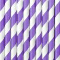 10 Pailles Rétro Rayées Lilas et Blanc