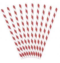 10 Pailles Rétro Rayées Rouge et Blanc