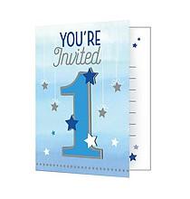 Carte Invitation Premier Anniversaire Etoiles Bleues Little Star