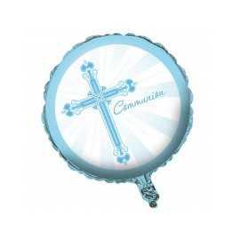 Ballon Alu Communion Croix Bleu Clair et Blanc