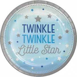 Grandes Assiettes Etoiles Little Star Bleu et Gris