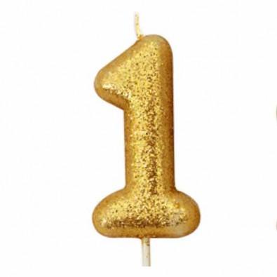 Image Anniversaire 1 An bougie glitter premier anniversaire bébé chiffre 1 un doré