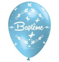 Ballon Nacré Décoration Baptême latex bleu clair perlé Premium