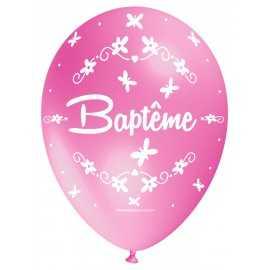 Ballon Nacré Décoration Baptême latex rose clair perlé Premium