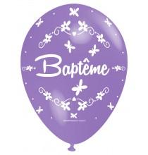 Ballon Nacré Décoration Baptême latex parme perlé Premium