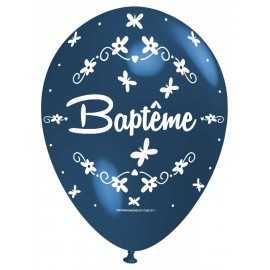 Ballon Nacré Décoration Baptême latex bleu de fête perlé Premium