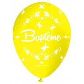 Ballon Nacré Décoration Baptême latex jaune perlé Premium