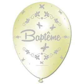 Ballon Nacré Décoration Baptême latex ivoire perlé Premium
