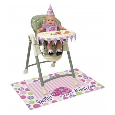 kit de d coration chaise haute premier anniversaire b b fille. Black Bedroom Furniture Sets. Home Design Ideas