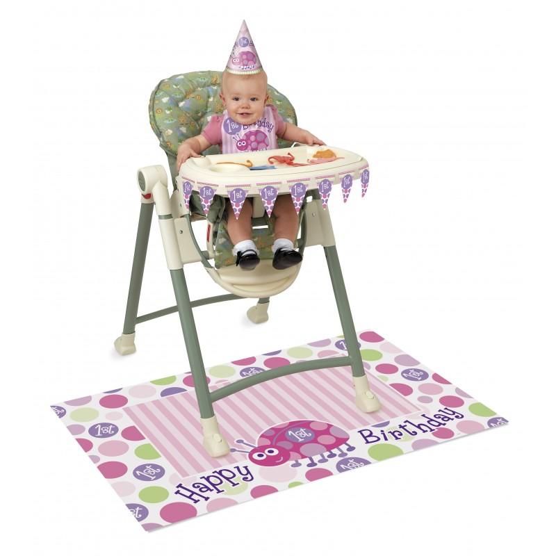 Kit de d coration chaise haute premier anniversaire b b fille for Chaise haute fille