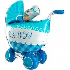 Ballon 3D Bleu XXL en Forme de Poussette Landau de Bébé