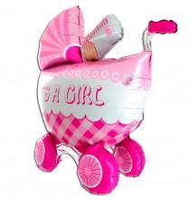 Ballon 3D Rose XXL en Forme de Poussette Landau de Bébé