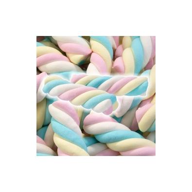 15 Mini Torsades Chamallow Pastel Bonbon arc-en-ciel