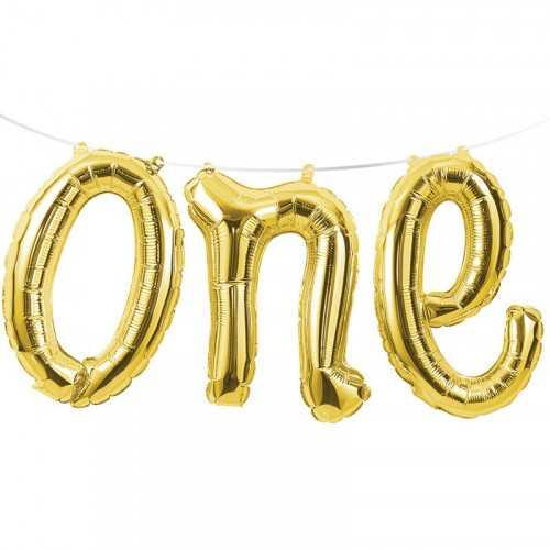 """Ballon Banderole """"One"""" Or Doré Chiffre 1 An Fête d'Anniversaire enfant"""