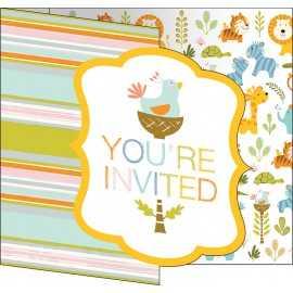 Invitation Thème Jungle et Animaux du Zoo + Enveloppe