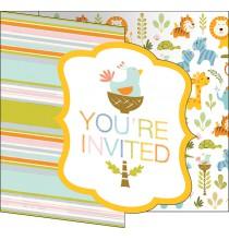 Invitation Baby Shower Animaux du Zoo + Enveloppe