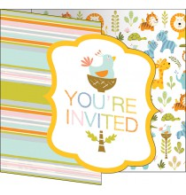 Invitation Baby Shower Animaux du Zoo + Enveloppe