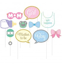 Kit 10 accessoires Photobooth Baby Shower Party Fille ou Garçon