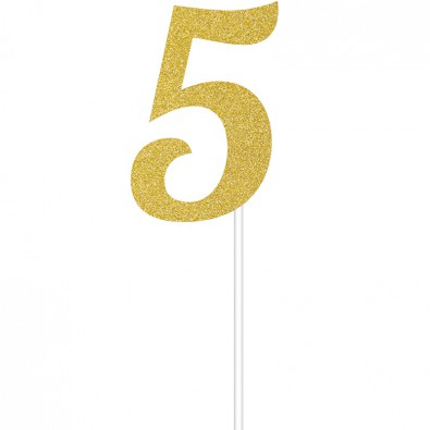 D 233 Coration Chiffre 5 Cinq Glitter Happy Birthday