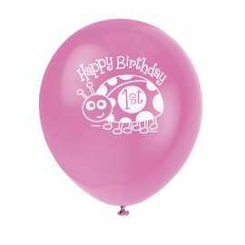 8 Ballons Latex Assortis Mon Premier Anniversaire Bébé Coccinelle