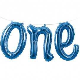 """Ballon Banderole """"One"""" Bleu Chiffre 1 An Fête d'Anniversaire enfant"""