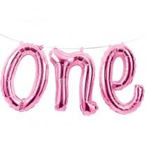 """Ballon Banderole """"One"""" Rose Chiffre 1 An Fête d'Anniversaire enfant"""