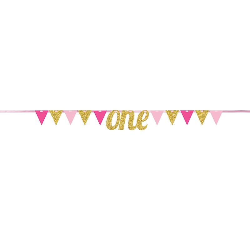 Banderole One à Fanions Glitter Doré Rose Premier Anniversaire