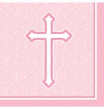 Serviettes Roses en Papier Croix Baptême et Communion Fille