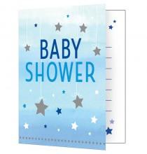Invitation Baby Shower Etoiles Pastel bleu et argent + Enveloppe