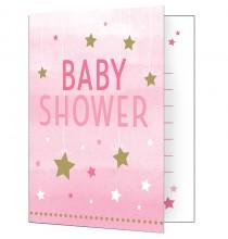 Invitation Baby Shower Etoiles Pastel rose et argent + Enveloppe