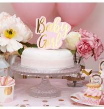 Baby Girl Décoration Pique pour gateau en Rose et Doré