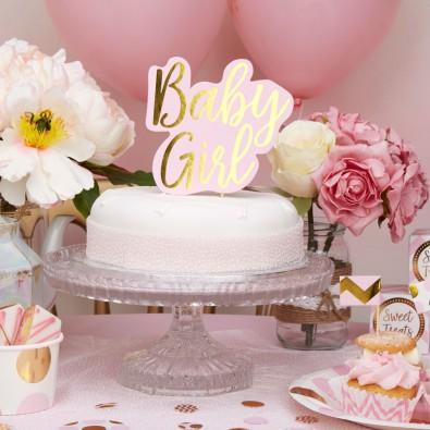 Pique d coration pour gateau rose clair et dor baby - Decoration pour baby shower ...