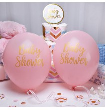 8 Ballons Latex Baby Shower Princesse Rose et Doré