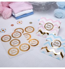 25 Stickers Baby Shower en Ronds Dorés